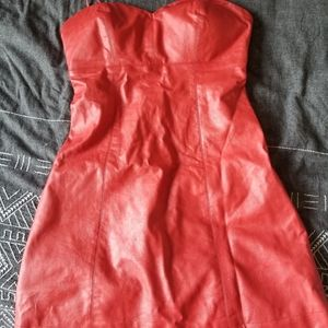 Red fake leather Guess mini dress